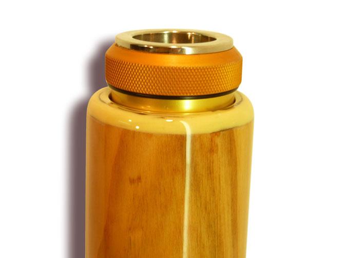 Woodslide Didgeridoo, Design Kirsche, Ansicht Mundstück. Woodslide Didge, Design CherryTree, View Mouthpiece